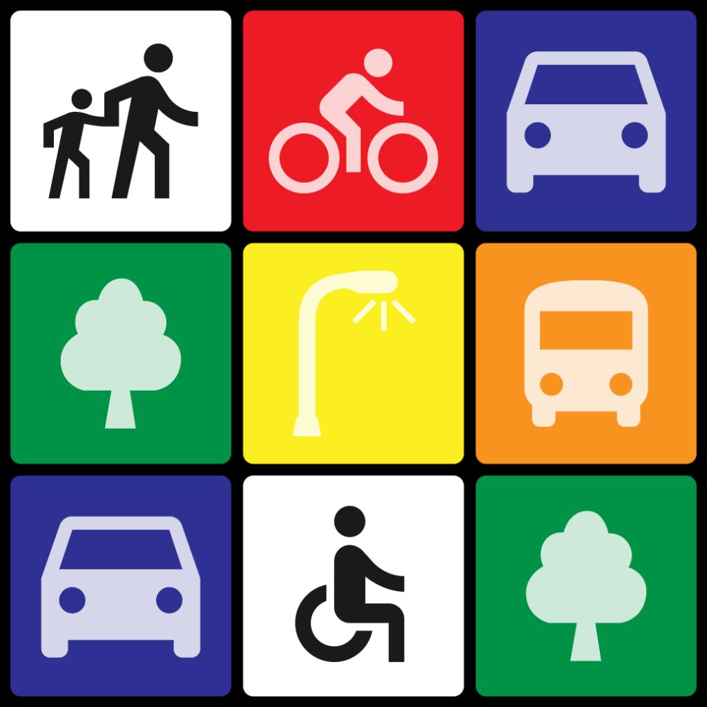 Rubik's Cube design showing symbols for different transportation modes, e.g. pedestrian, transit, car, etc.